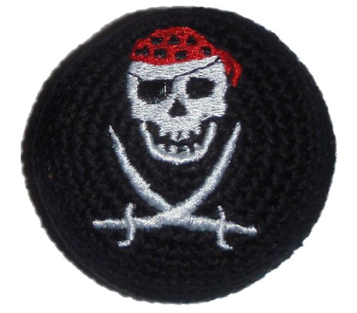 Embroidered Pirate - Hacky Sacks / Footbags, Crocheted or Embroidered, Hand Made in Guatemala, Comes with Tips & Game Instructions (Skull & Bones Pirate, Embroidered)