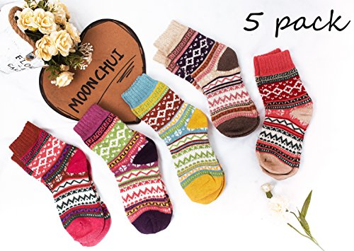 Moonchui 5 of women mixed color and thick woven casual warm wool socks (size 5-9) Merino wool, funny cute crew socks, jogging, hiking, hiking socks, pregnancy, varicose veins, warm nursing from MOONCHUI