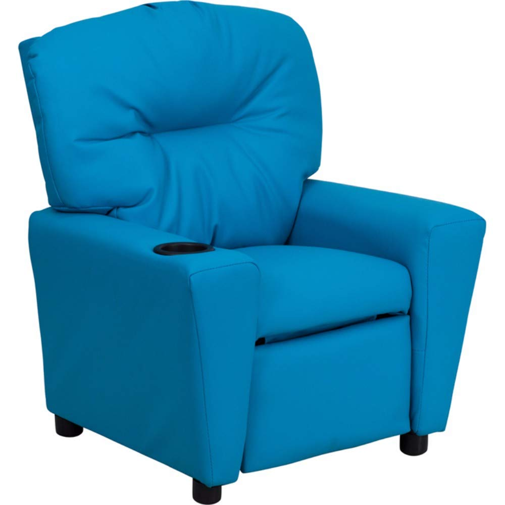Offex OFX-87010-FF Contemporary Vinyl Kids Recliner with Cup Holder - Turquoise