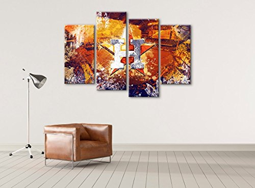 Houston Astros Baseball Canvas wall art - Hand Made In The US - Framed And Ready To Hang by Canvas Kings