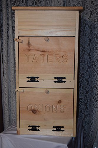 Tater and onion bin with breadbox on top