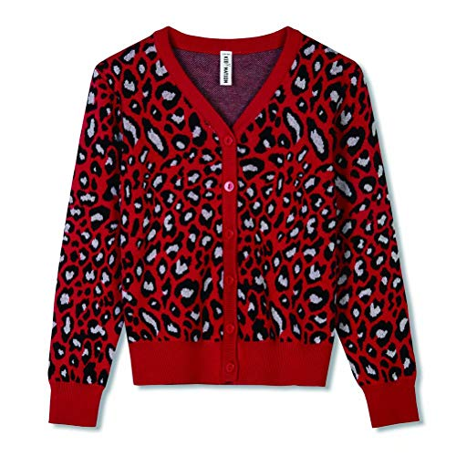Kid Nation Girls Cardigan Leopard Pattern Fashion Sweater for Kids Cotton Knit Cute and Warm