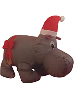 santas boutique christmas self inflating illuminated blow up yard decorations hippo 42 inches - Christmas Hippo Outdoor Decoration