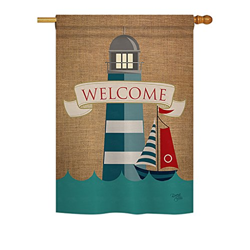 - Breeze Decor - Lighthouse & Sailboat Coastal - Everyday Nautical Impressions Decorative Vertical House Flag 28