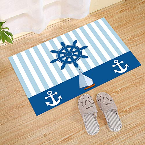 Mint Blue Vertical Stripes Sailboat White Nautical Anchor Na