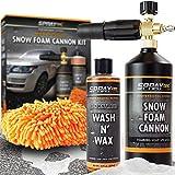 Foam Cannon Nozzle Snow Soap Blaster Attachment Kit w/Microfiber...