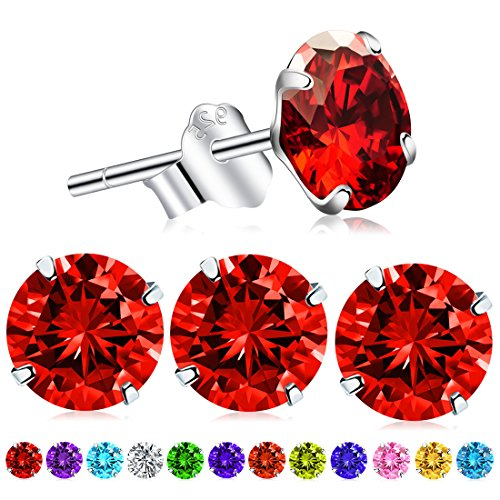 2pcs January Birthstone Stud Earrings, Swarovski Element AAA Cubic Zirconia S925 Stamp Sterling Silver Earrings for Women Girls (Garnet)