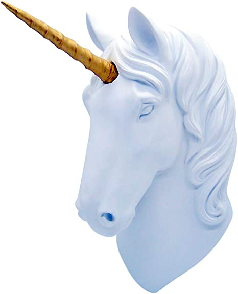 10x5x13 Inches Unicorn Head Wall Mount White Unicorn Head Sculpture with Gold Horn Faux Resin Wall Hanging Animal Head Wall Decor Ready to Hang
