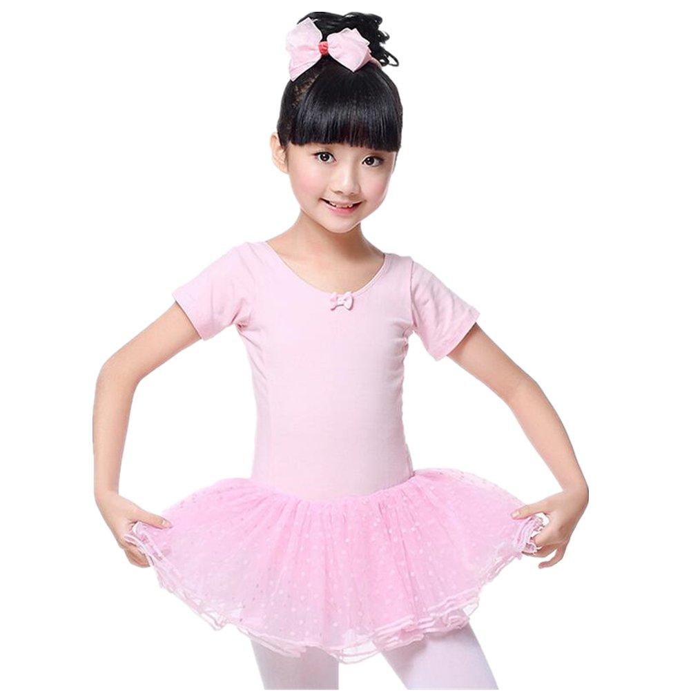 ZYZF Girl Kid Leotard Lycra Gymnastic Dancewear Ballet Unitards Tutu Polka Dots Dress 20161004188