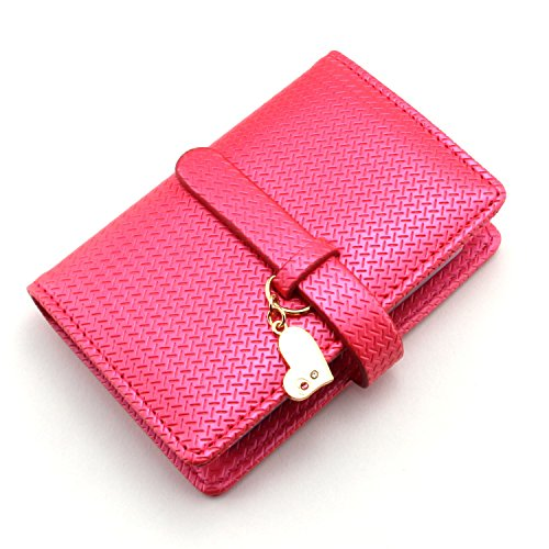 Partstock(TM) Premium Lady's PU Leather Credit Card Holder ID Case - Book Style With 26 Card Pockets For All Banking and Business Cards Photos.With Heart Pendant Adorn.(Rose red) (Heart Card Credit Holder)