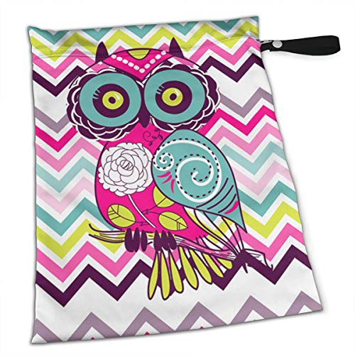NIAOBUDAI Chevron Retro Groovy Owl Baby Wet and Dry Cloth Diaper Bags, Nappy Organizer Bag, Multipurpose Travel Packing Organizer Bags for Swimsuit, Underwear, Washable & Reusable