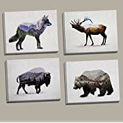 Rustic Elk, Bison, Wolf and Bear Landscape Set; Cabin Lodge Decor; Four 10x8in Hand-Stretched Canvases