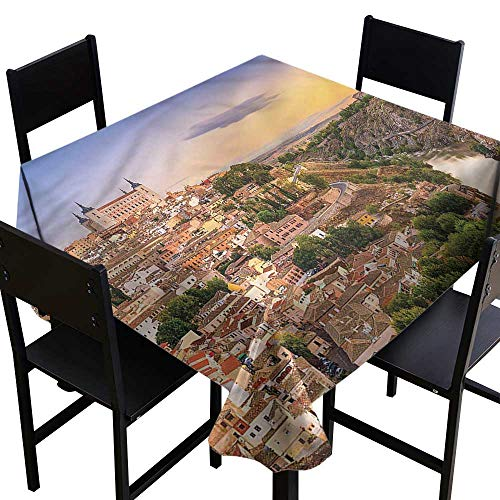 Anshesix Wrinkle Resistant Tablecloth Wanderlust Toledo Spain Old City Table Decoration W50 xL50 Waterproof/Oil-Proof/Spill-Proof Tabletop ()