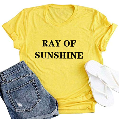 (JINTING Ray of Sunshine Tshirt Sunshine Graphic Tees Shirts for Women Sunshine Tee Shirts Casual Summer Graphic Letter Print Tee Shirts with Saying Size M (Yellow 3))