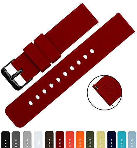 BARTON Silicone Quick Release - Black Buckle - 16mm, 18mm, 20mm or 22mm - Crimson Red 22mm Watch Band Strap (Changeable Buckle)