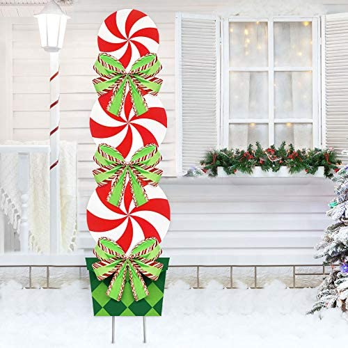 Oriental Cherry Candy Christmas Decorations Outdoor 44in Peppermint Xmas Yard Stakes Giant Holiday Decor Signs For Home Lawn Pathway Walkway Candyland Themed Party Red White Green