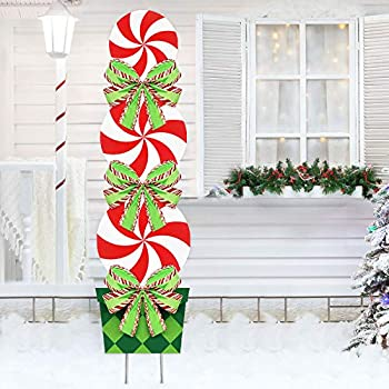 3 Piece Christmas Train Lawn Decoration w// 6 short stakes Seconds