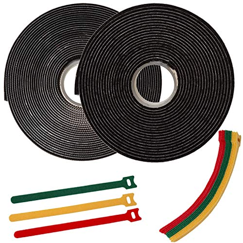 FixZilla 1 Inch x 15 Feet Industrial Strength Hook and Loop Strips with Adhesive Heavy Duty Tape + 15 Reusable Cable Ties