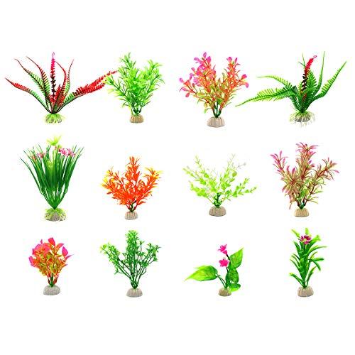 Zivisk Artificial Aquarium Plants Plastic Water Plant Fish Tank Decoration - 12Pcs by Zivisk
