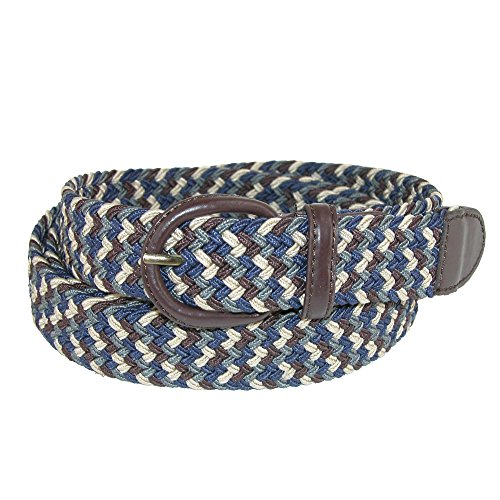 CTM Men's Elastic Stretch Two Tone Belt with Matching Buckle, Xlarge, Multi (Multi Buckle Belt)