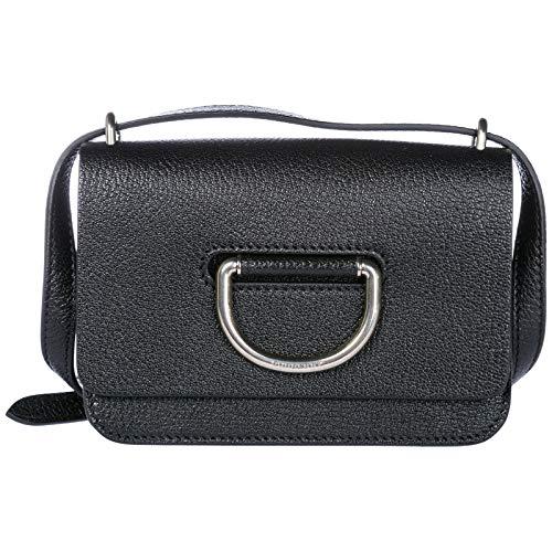 Burberry women's leather cross-body messenger shoulder bag D-Ring black ()