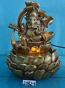 Ganesha interior Polyresin fuente de agua con sistema de iluminación–fácil instalación, Design 2082