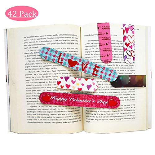 Supoice 42 Pcs Valentine's Day Magnetic Bookmark 6 Cute Designs Perfect Classroom Rewards Incentives for Kids