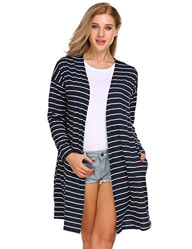 Navy Blue Striped Sweater (ELESOL Women's Open Front Cardigan,Navy Blue,XL)