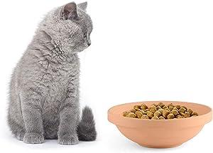 Awinro Cat Food Bowl, Handmade Shallow Pet Food Bowls Set, Clay Slow Feeding Supplies Bowls for cat, Original Design (Set of 1)