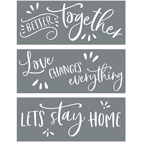Sign Stencils For Painting on Wood - Better Together + Love Changes Everything + Lets Stay Home - Create Beautiful DIY Signs With Word Stencils - Set of 3 Reusable Stencils for Making DIY Sign
