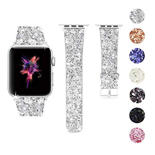 Bling Bands Compatible Apple Watch Band 38mm 40mm 42mm 44mm Women, Iwatch Strap Shiny Bling Glitter Leather Replacement Wristband For Apple Watch Series 4/3/2/1 Sport Edition (Silver, 42mm)