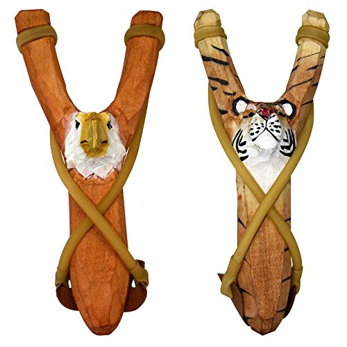 BUY ONE GET ONE FREE - NATURE LAUNCHERS - Hand-Carved Wooden Slingshot - 2 PACK - Eagle and Tiger