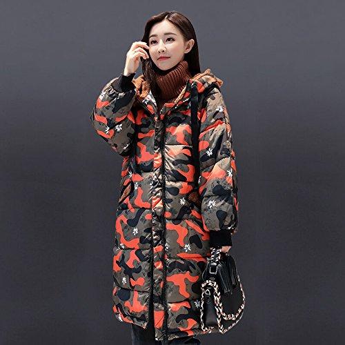 Coat DYF L Hat Down Pocket Orange Jacket sleeve Zipper Thickened Medium Yellow Long length qx4ExRP