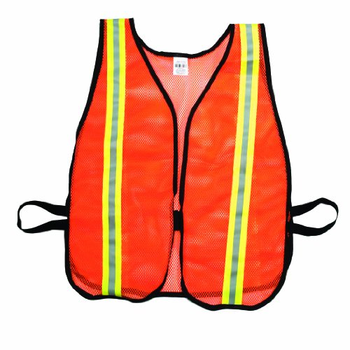 Safety Vest Mesh Poly - Mutual 16300 High Visibilty Soft Poly Mesh Safety Vest with 1-1/2