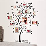 LemonGo Large Family Tree Photo Frames Wall Decal Removable Wall Decor Decal Sticker