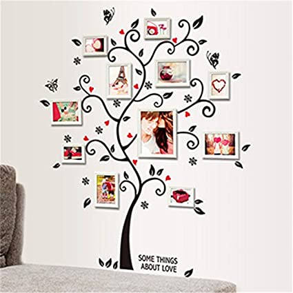 Lemongo Large Family Tree Photo Frames Wall Decal Removable Wall