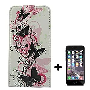 Butterfly Pattern Open Up and Down PU Leather Full Body Case Cover with Screen Protector for iPhone 6