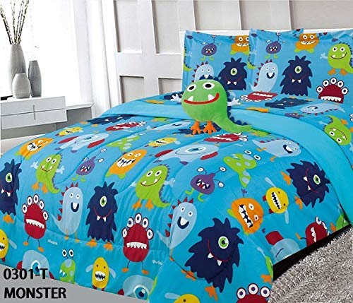 8 Piece Full Size Kids Boys Teens Comforter Set Bed in Bag with Shams, Sheet Set and Decorative Toy Pillow, Monster Print Blue Green Boys Kids Comforter Bedding Set w/Sheets]()