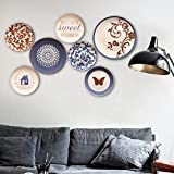 fine accent wall colours Ceramic plate hand-made wall hanging fine cartoon color decorative plate 7 combination set