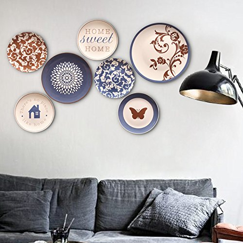 Ceramic plate hand-made wall hanging fine cartoon color decorative plate 7 combination set