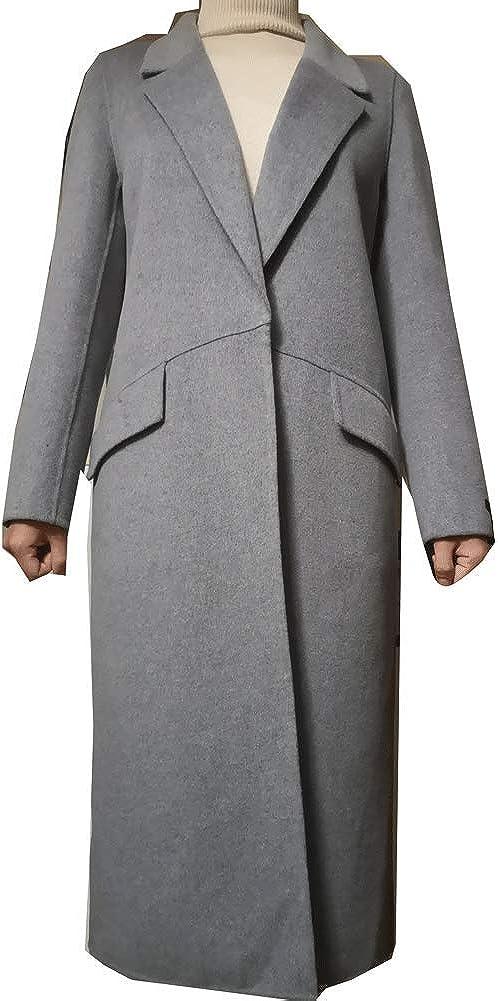 G8153 Regular /& Plus CG Women Plus Size Wool-Blend Classic Coat Maxi Long Coat Female Robe Outerwear