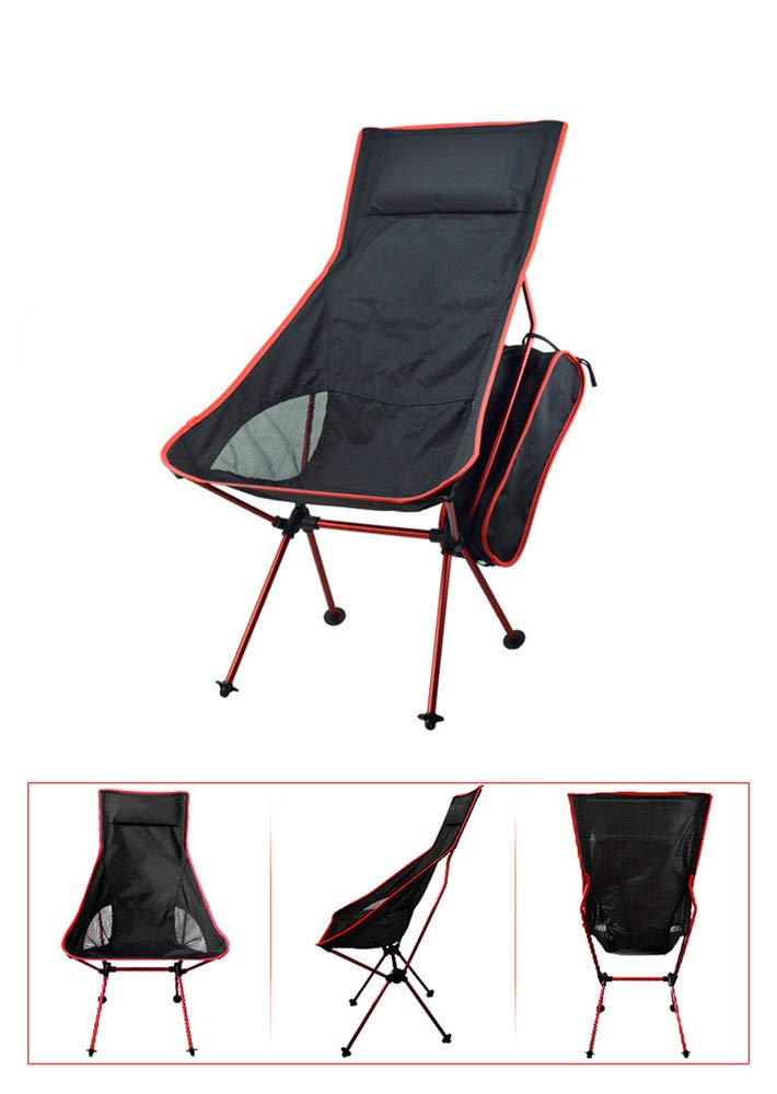 Red Portable Collapsible Moon Chair Fishing Camping BBQ Stool Folding Extended Hiking Seat Garden Ultralight Office Home Furniture