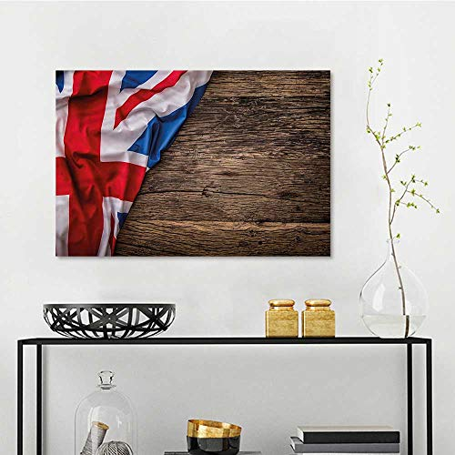 Union Jack Art Oil Painting Flag on Oak Board for Home Decoration Wall Decor W35 xL23