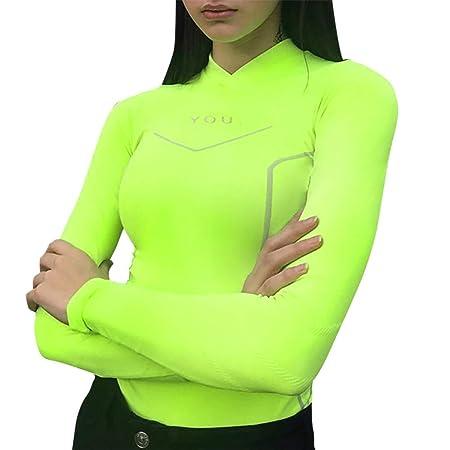 Baifeng Mujer Manga Larga Fitness Camiseta Camiseta ...