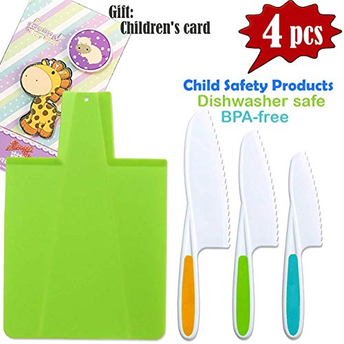 - TraGoods Kids Kitchen Knife and Foldable Cutting Board Set: Children's Cooking Knives in 3 Sizes & Colors/Firm Grip, Serrated Edges, BPA-Free Kids' Knives/Safe Lettuce and Salad Knives