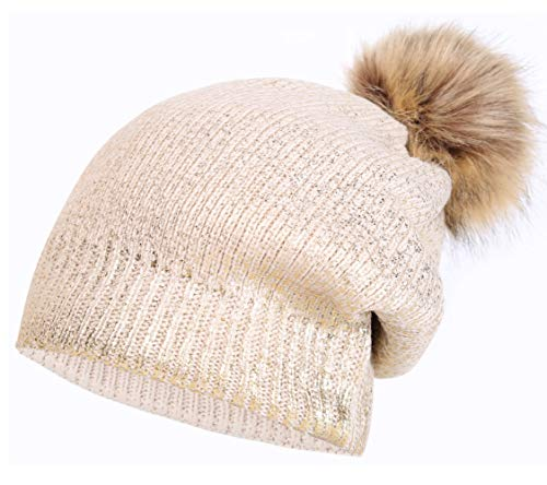 Pom Pom Knit Hats Metallic Shiny Party Thick Slouchy Beanie Khaki Gold ()