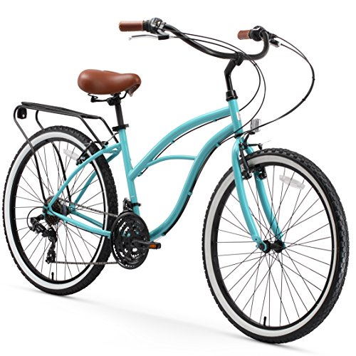 sixthreezero Around The Block Women's 21-Speed Cruiser Bicycle, Teal Blue w/ Brown Seat/Grips, 26