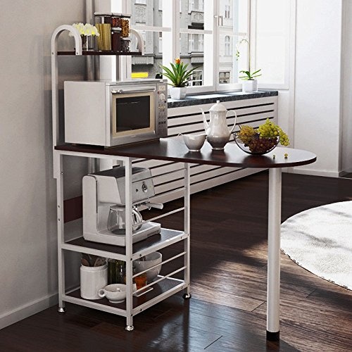 NEW Dark Walnut / White Kitchen Island Dining Cart Baker Cabinet Basket Storage Shelves Organizer Wood / Metal (Bar Sale Target Stools)