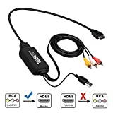 RCA to HDMI Converter, AV to HDMI Adapter, RCA to HDMI Cable for PC Laptop Xbox PS3 PS4 TV STB VHS VCR Camera DVD Etc