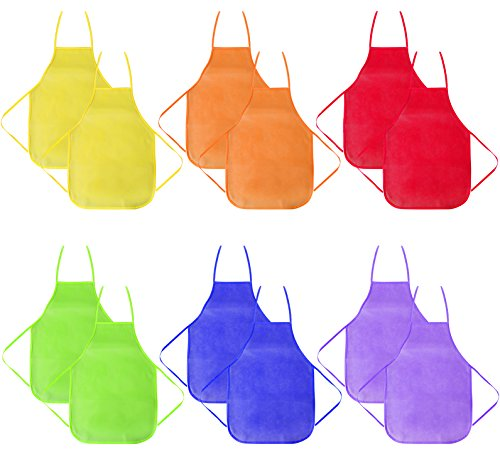 12 Pack 6 Colors Children's Artists Fabric Aprons-Kitchen, Classroom, Community Event, Crafts & Art Painting Activity-Safe Clean for Kids Painting Apron